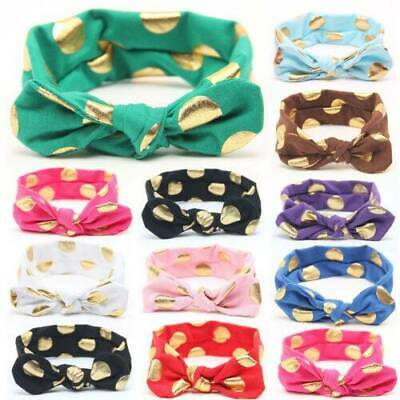 Baby Girls Bow Rabbit Turban Knot Headband Hair band Head Wrap Cute Kids Spotted