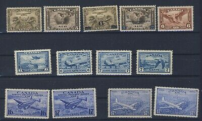 13x Canada Mint Airmail stamps C1 to C5 MH C6 to C9 MNH CE1-2 MH CE3-4 MNH $165.