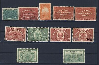 12x Canada Special Delivery stamp Set E1 to E11 9x Mint 2xUsed Guide Value=$300.