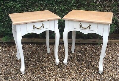 Pair of shabby chic French Louis style bedside tables