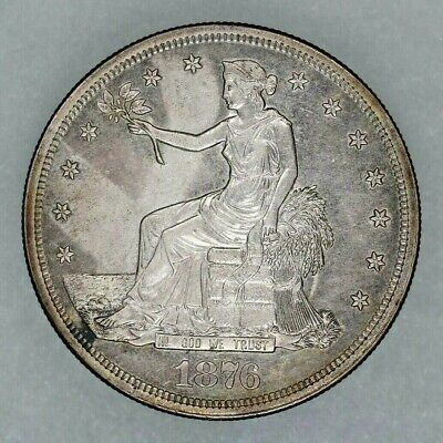 1876 S Trade Silver Dollar $1 Uncirculated Details (9350)