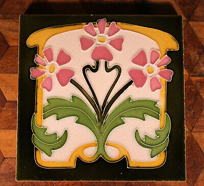 ANTIQUE French Art Nouveau Desvres Tube Lined Majolica Flower Tile Victorian WOW