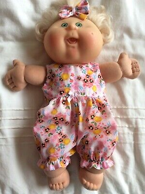 """Doll Clothes Fits 14"""" Cabbage PATCH  doll ~ Jumpsuit/ Romper : Pink / Flowers"""