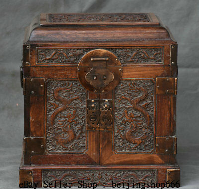 """10.4"""" Old Chinese Huanghuali Wood Carving Dragon 3 Drawer jewel case Jewelry box"""