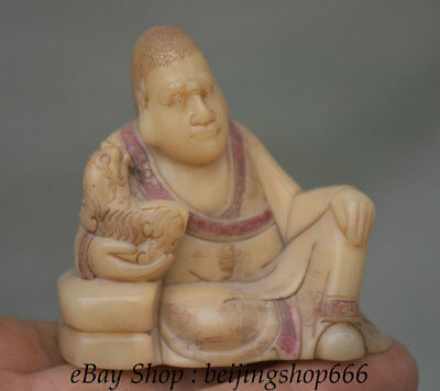 6.5CM Old Chinese 100% Shoushan Stone Carving arhat Luohan Tiger Beast Sculpture