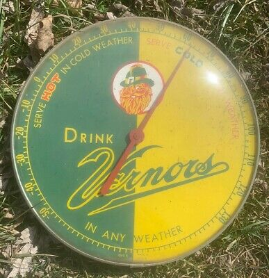 Vtg 60s Drink Vernor's Ginger Ale Advertising Outdoor Glass Thermometer 495A