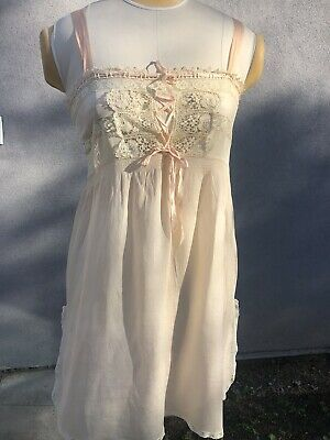 Antique 1930's silk and lace Teddie -Peach Pink Lingerie Small Medium 32 bust