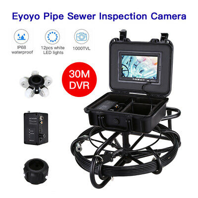 "Eyoyo 30M Cable Drain Pipeline Endoscope Inspection Camera 7"" LCD IP68 1000TVL"