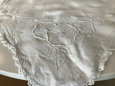 Vintage White Linen Hand Embroidered Tablecloth Tea Rose