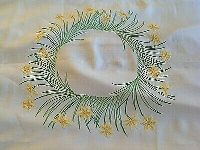 Vintage French Linen Narcissi Tablecloth 145cm sq