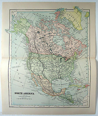 Original 1882 Map of North America by Phillips & Hunt. Antique