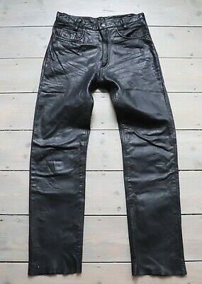 Men's Vintage Zip Fly High Waist Black Thick 100% Leather Trousers Jeans W31 L31