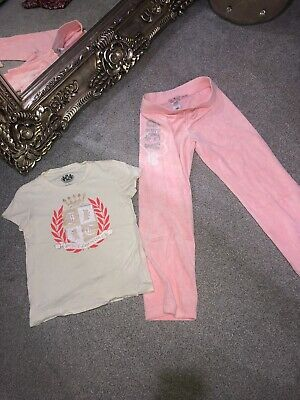 Juicy Couture Girls Age 8 Velour Tracksuit Bottoms Pink & Tshirt Used Flares