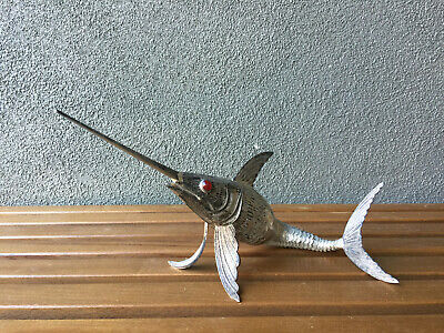 "18.5"" Swordfish Articulated Fish Sculpture Vintage Mid Century Modern Silver Era"