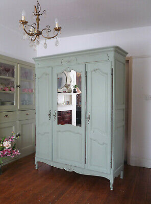 Vintage Painted Triple Door French Armoire Cupboard