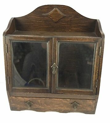 Lovely Oak Smokers Cabinet With Bevelled Glass Doors