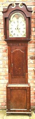 Antique Rolling Moon Oak & Mahogany Longcase Grandfather Thomas Taylor Ellesmere