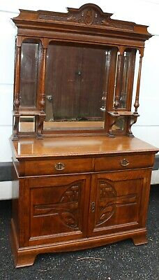 1930's Large Arts and Craft Mahogany Sideboard with Mirror Back