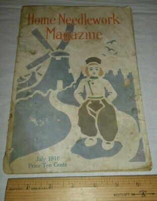 Vintage Home Needlework Magazine July 1916 Patterns Old VTG Booklet Crochet