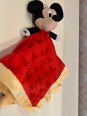 Disney Baby Mickey Mouse Lovey Security Blanket Red Yellow Trim Crinkle Ears