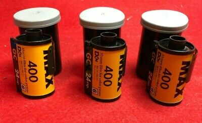 lot of 3 EXPIRED ROLLS OF 400 iso 24exp 35mm KOKAK MAX COLOR PRINT FILM