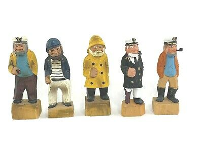 """5 Hand Carved Wooden Nautical Figurines 6"""" Tall"""