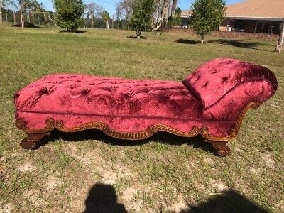 ANTIQUE French Victorian CHAISE LOUNGE. Newly recovered, Truly Breath taking!