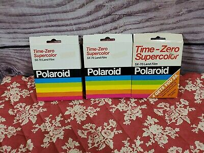 Polaroid SX70 Time Zero Super Color Exp 80's Instant Photo Camera Film 3 Pack
