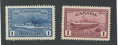 2x Canada $1.00 Stamps #262- WWII Destroyer MH VF & #273 Ferry MNH VF GV=$147.50