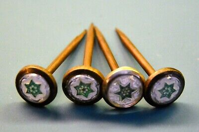 Lot of 4 Victorian Sulfide Nail Head Covers Picture Screw Hanger antique star
