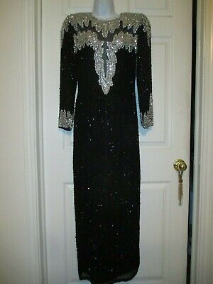 Vintage Nite Line Sequined Beaded Black Sheath Prom Cocktail Dress Size 6 Petite