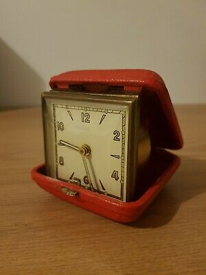 Very Nice Vintage Travel Folding Alarm Clock In Red Case
