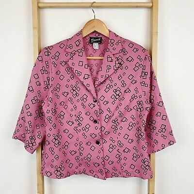 Vintage 70s 80s Tosol David Pink Geometric Print Button Up Top Jacket | Size 12