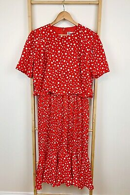 Vintage Discovery 80s Red Spot Print Pleated Party Prom Dress | Size 16