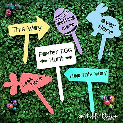 Easter Egg Hunt Game, 6 piece Sign set, Coloured Acrylic or MDF, garden signs