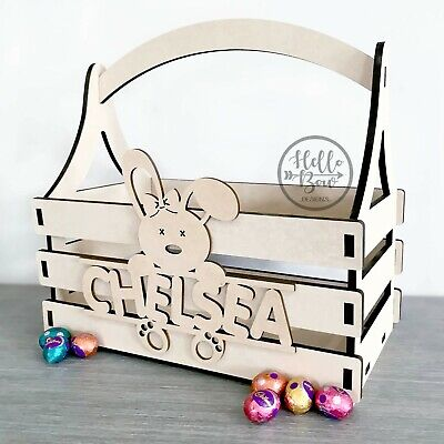Wooden Easter Egg Basket with childs name, personalised laser cut gift idea, MDF