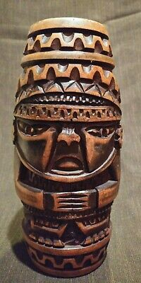 Vintage Hand Carved Wood Peruvian INCA Tumi God Statue  base 7.5 inch tall