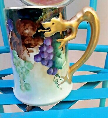 1909 Antique Handpainted Stein Signed E.luder Grape Motif Gold Dragon Handle