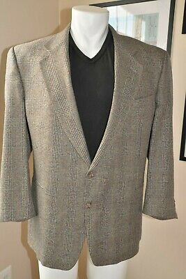 Mens Blazer VITO RUFOLO Soft Silk Wool Plaid Single-Breasted Sport Coat Sz 48 R