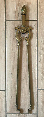 Fine Quality Pair Of Large Antique Victorian Ornate Cast Brass Fire Tongs