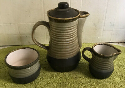 Bramstone Stoneware Coffee Pot Milk Jug & Sugar Bowl