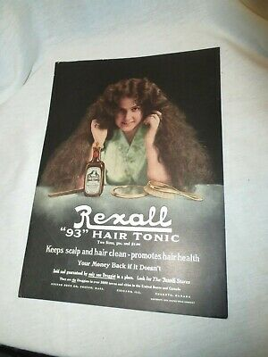 1911 Color Rexall 93 Hair Tonic Ad-Girl Holds Her Hair