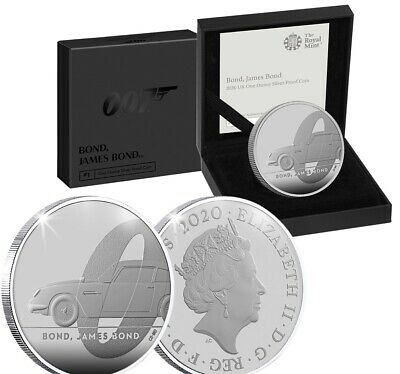 2020 Royal Mint James Bond 007 £2 One Ounce Silver Proof Coin COA PREORDER.