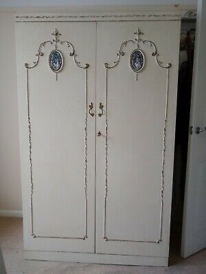 Louis style vintage 50s  60s cream double wardrobe, rails, drawers, shelves, key