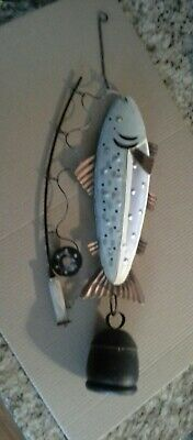 VINTAGE METAL WIND CHIME FISH ON POLE 3-D with COW BELL