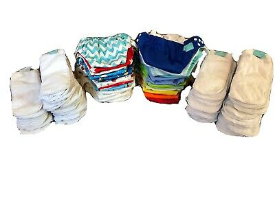 Lot of 27 Charlie Banana OS One Size Cloth Pocket Diapers + Liners Inserts