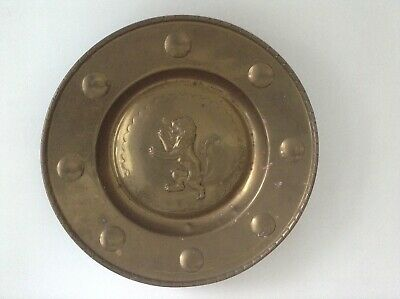 Antique 19th Century Brass Armorial Charger or Alms Dish Repousse Lion