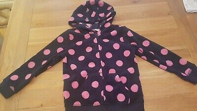 girls navy and pink polka dot fleece hoody zippy coat age 4-5 years from george