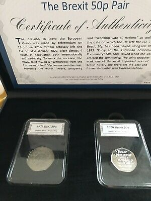 Brexit Official 2 Coin 50p Set 1973 EEC Entry and 2020 Withdrawal From EU