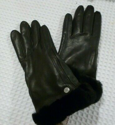 Ugg leather ladies leather gloves with faux fur cuffs M
